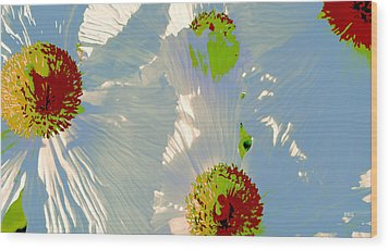 Matilija Poppies Pop Art Wood Print by Ben and Raisa Gertsberg