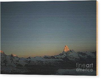 Matterhorn At Sunrise Wood Print by Christine Amstutz