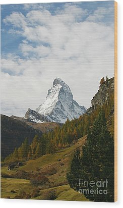 Matterhorn In The Fall Wood Print by Stan and Anne Foster