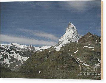 Matterhorn With Alpine Landscape Wood Print by Christine Amstutz