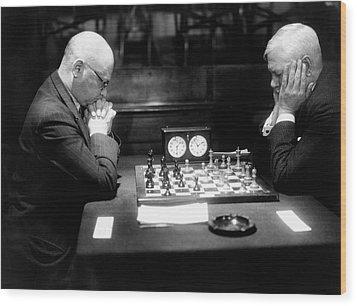 Mature Men Playing Chess, Profile (b&w) Wood Print by Hulton Archive