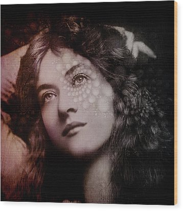 Wood Print featuring the digital art Maude by Kathleen Holley