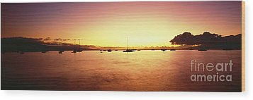 Maui Boat Harbor Silhouette Wood Print by Carl Shaneff - Printscapes