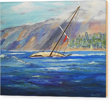 Maui Boat Wood Print by Jamie Frier