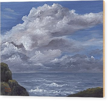 Wood Print featuring the painting Maui Clouds by Darice Machel McGuire