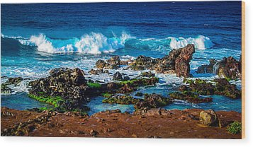 Maui Hawaii Breaking Surf  Wood Print