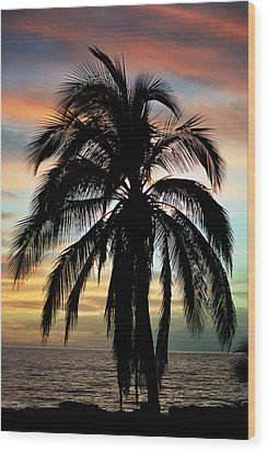 Maui Hawaii Sunset Palm Wood Print by Pierre Leclerc Photography