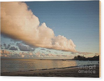 Maui Hawaii Sunset Stunning Clouds Wood Print by Denis Dore