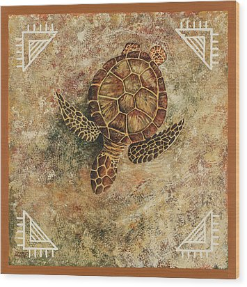 Wood Print featuring the painting Maui Honu by Darice Machel McGuire