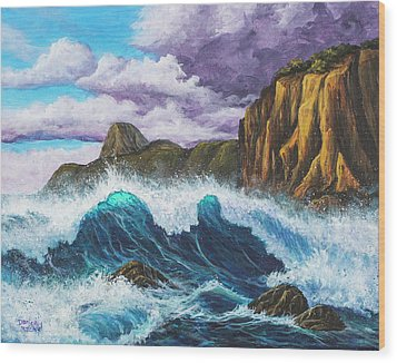 Wood Print featuring the painting Maui Rugged Coast  by Darice Machel McGuire