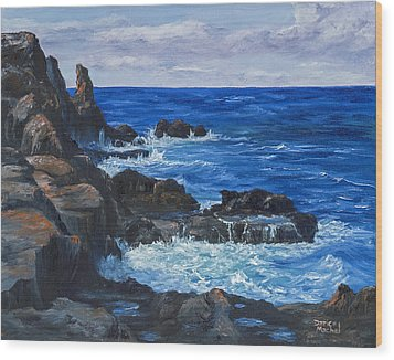Wood Print featuring the painting Maui Rugged Coastline by Darice Machel McGuire
