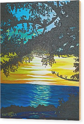 Maui Sunset Wood Print by Donna Blossom