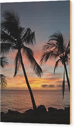 Maui Sunset Palms Wood Print by Kelly Wade
