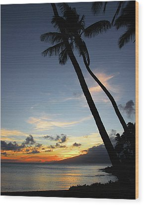 Wood Print featuring the photograph Maui Sunset With Palm Trees by Rau Imaging