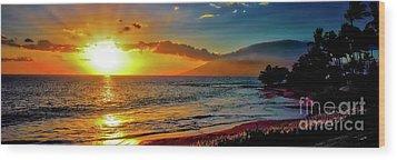 Maui Wedding Beach Sunset  Wood Print