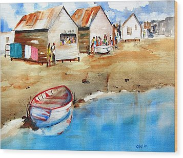 Mauricio's Village - Beach Huts Wood Print