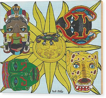 May  Aztec Masks Wood Print