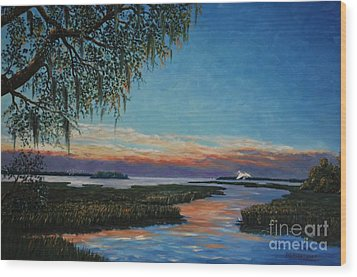 May River Sunset Wood Print by Stanton Allaben