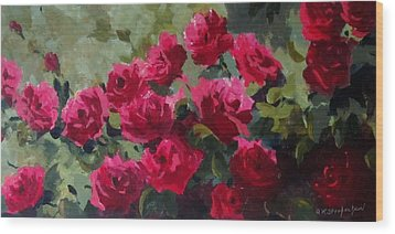 May Roses Wood Print by Sandra Strohschein