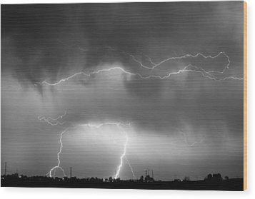 May Showers - Lightning Thunderstorm  Bw 5-10-2011 Wood Print by James BO  Insogna