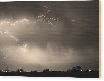 May Showers 2 In Sepia - Lightning Thunderstorm 5-10-2011   Wood Print by James BO  Insogna