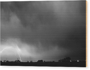 May Showers 3 In Bw - Lightning Thunderstorm 5-10-2011 Boulder C Wood Print by James BO  Insogna