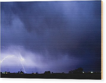 May Showers 3 In Color - Lightning Thunderstorm 5-10-2011 Boulde Wood Print by James BO  Insogna