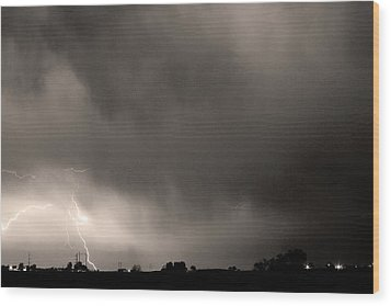 May Showers 3 In Sepia - Lightning Thunderstorm 5-10-2011 Boulde Wood Print by James BO  Insogna