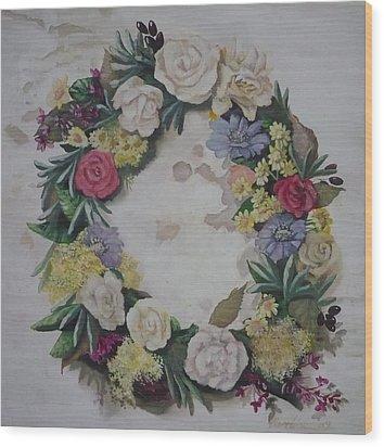 May Wreath Wood Print