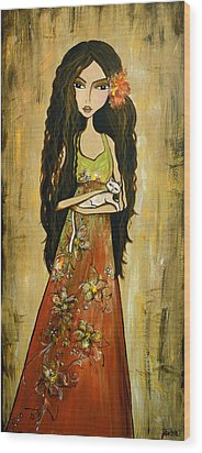 Maya And The Cat Wood Print by Debbie Horton