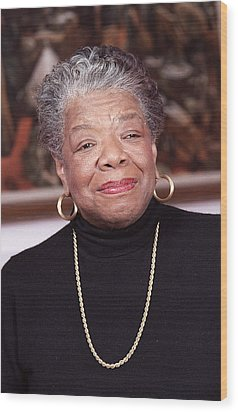 Maya Angelou Wood Print by Robert Ponzoni