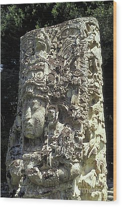 Maya Stela Copan Honduras Wood Print by John  Mitchell