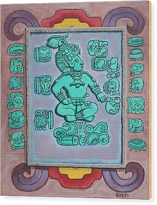 Wood Print featuring the painting Mayan Prince by Antonio Romero