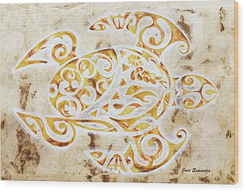 Wood Print featuring the painting Mayan Turtle by J- J- Espinoza