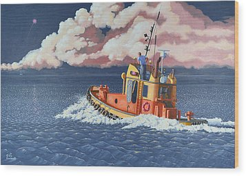 Wood Print featuring the painting Mayday- I Require A Tug by Gary Giacomelli