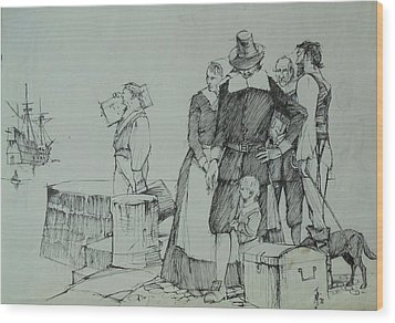 Wood Print featuring the drawing Mayflower Departure. by Mike Jeffries