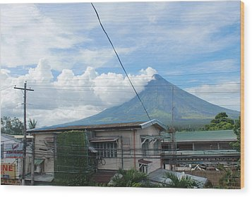 Mayon In-front Of My House Wood Print by Manuel Cadag
