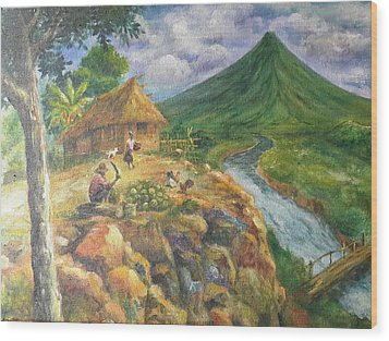 Mayon Scene #1 Wood Print by Manuel Cadag