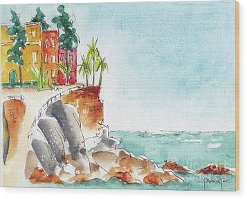 Wood Print featuring the painting Mazatlan Cliff by Pat Katz