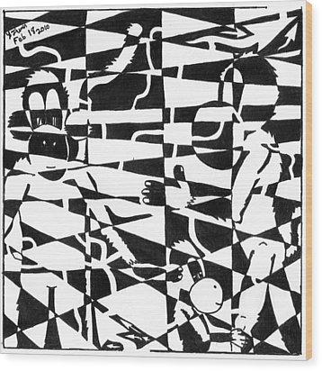 Maze Memoirs Of The Invisible Monkeys Wood Print by Yonatan Frimer Maze Artist