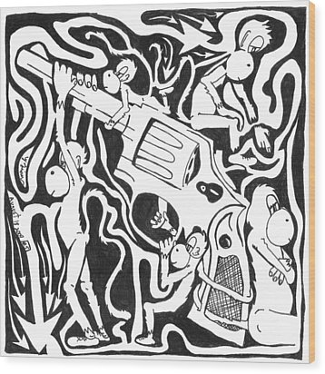 Maze Of A Team Of Monkeys Firing A Service Revolver Wood Print by Yonatan Frimer Maze Artist