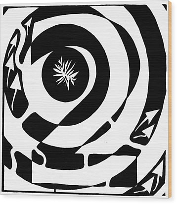 Maze Of Number Two Wood Print by Yonatan Frimer Maze Artist