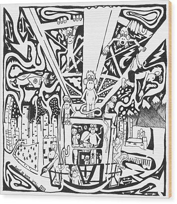 Maze Of Team Of Monkeys - Operating A Tower Crane Wood Print by Yonatan Frimer Maze Artist
