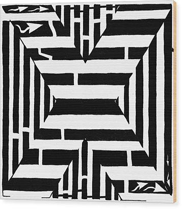 Maze Of The Letter X Wood Print by Yonatan Frimer Maze Artist
