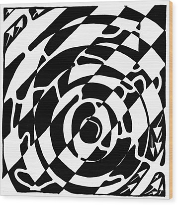Maze Of The Number Six Wood Print by Yonatan Frimer Maze Artist