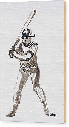 Mbl Batter Up Wood Print by Seth Weaver