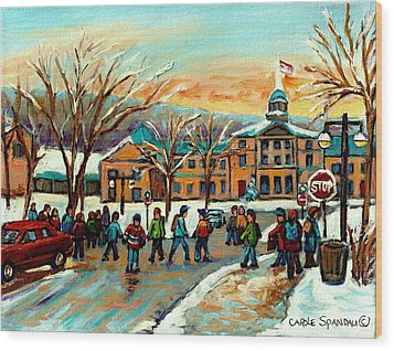 Mcgill Gates Sherbrooke Street Montreal Wood Print by Carole Spandau