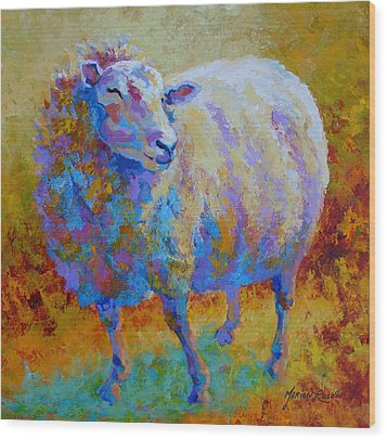 Me Me Me - Sheep Wood Print by Marion Rose