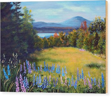 Meadow Lupine II Wood Print by Laura Tasheiko