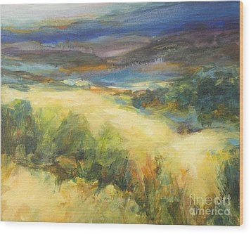 Meadowlands Of Gold Wood Print by Glory Wood